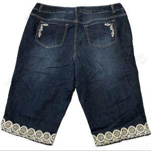 CJ Banks Shorts - CJ Banks Embroidered Jean Shorts